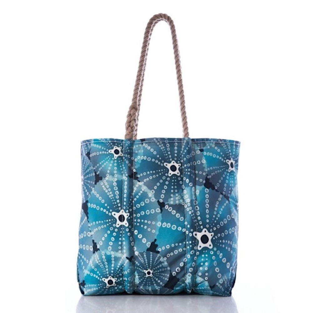 Sea Bags Tote - Sea Urchins Print - Hemp Handles - Medium