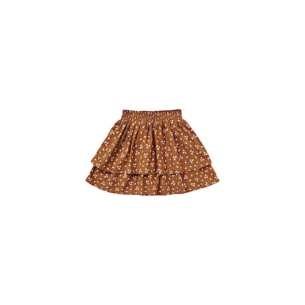 Rylee + Cru Ditsy Tiered Mini Skirt - Cinnamon