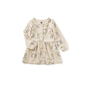 Tea Collection Tea Collection Button Front Baby Dress - Llama Love