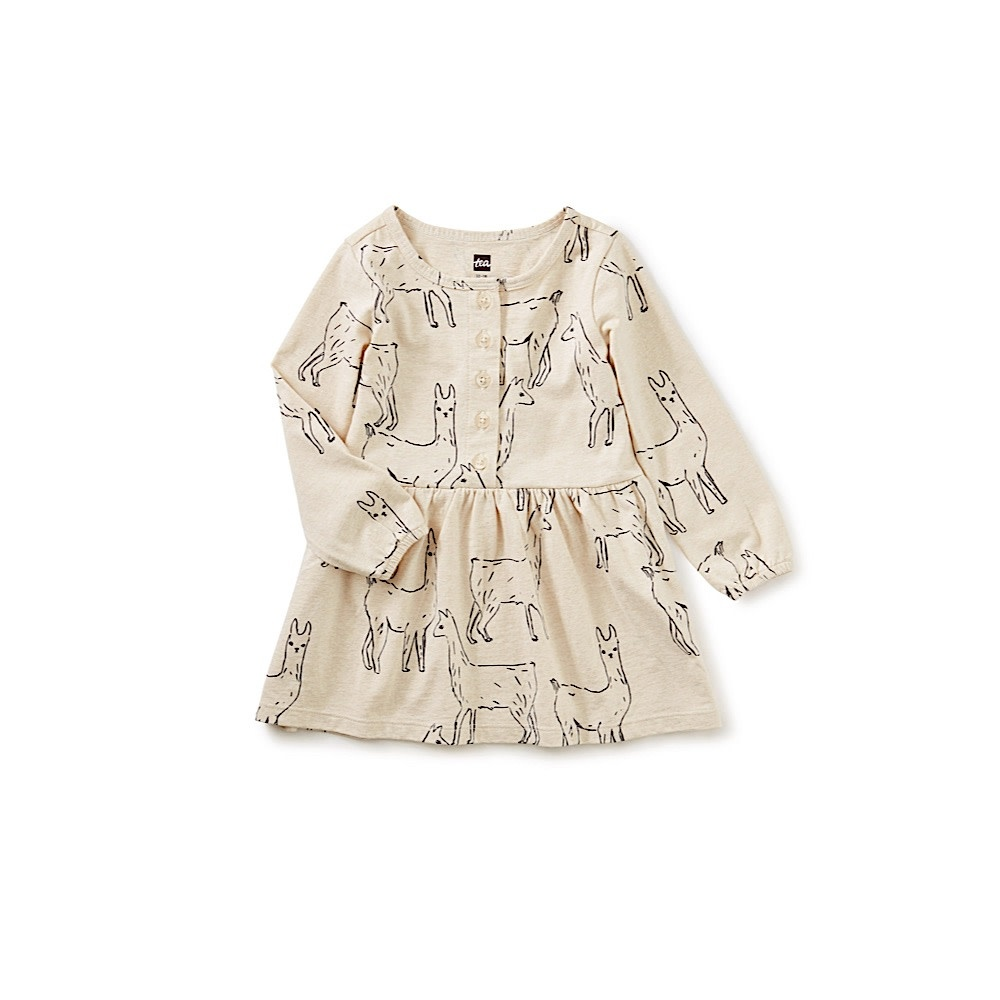 Tea Collection Button Front Baby Dress - Llama Love