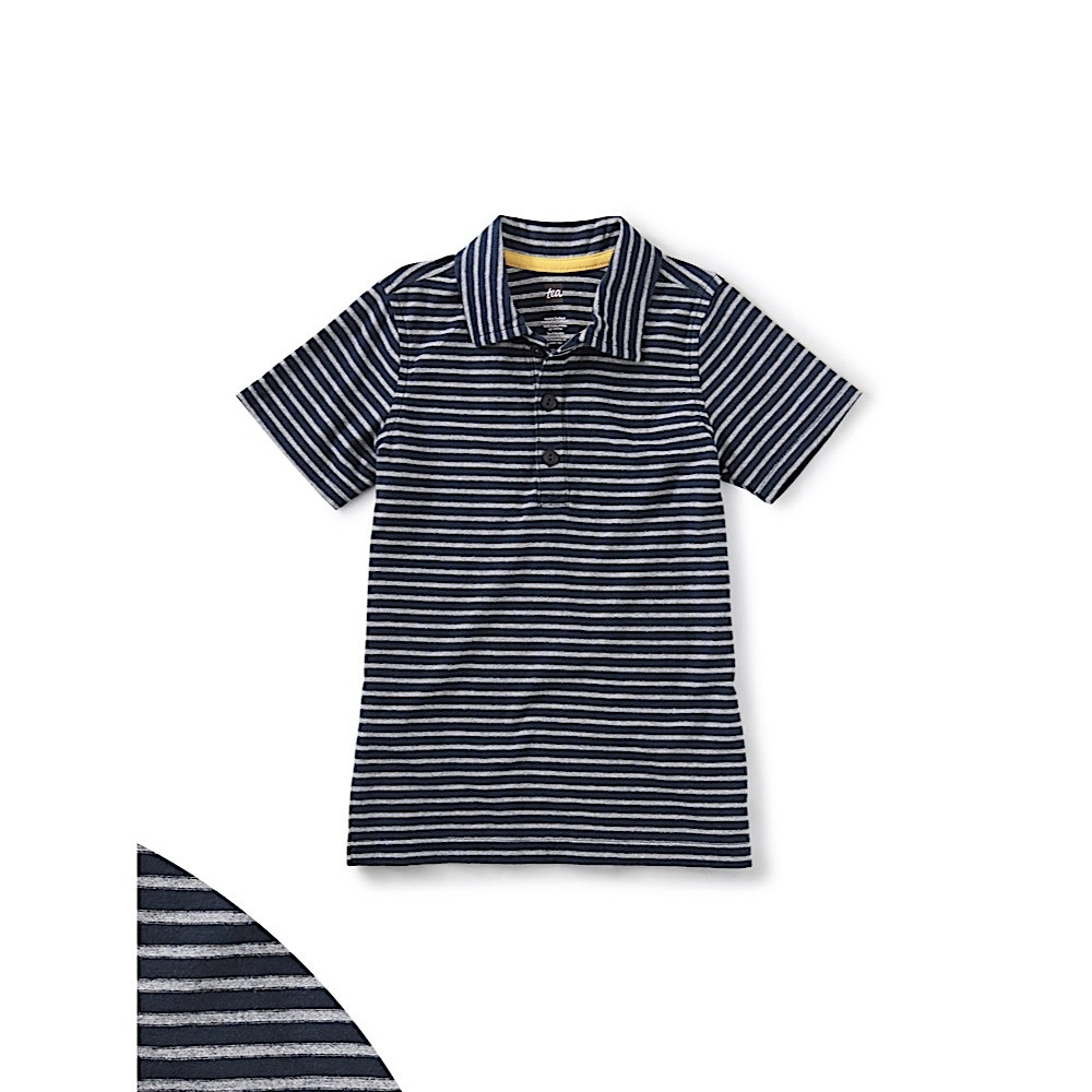 Tea Collection Tea Collection Striped Polo - Heritage Blue