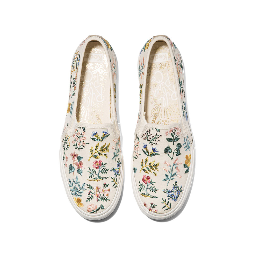 KEDS Adult + Rifle Paper Co. - Double Decker - Wildflower Embroidered - Natural
