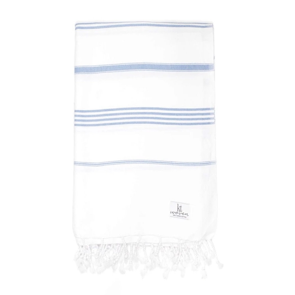 KT Woven - Classic Turkish Towel - White With Blue Stripes