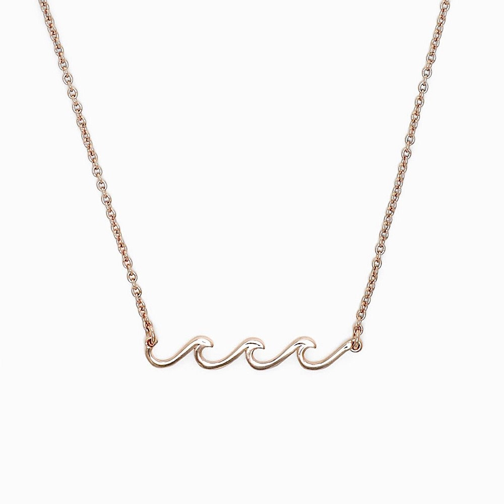 Pura Vida Pura Vida Delicate Wave Necklace - Rose Gold