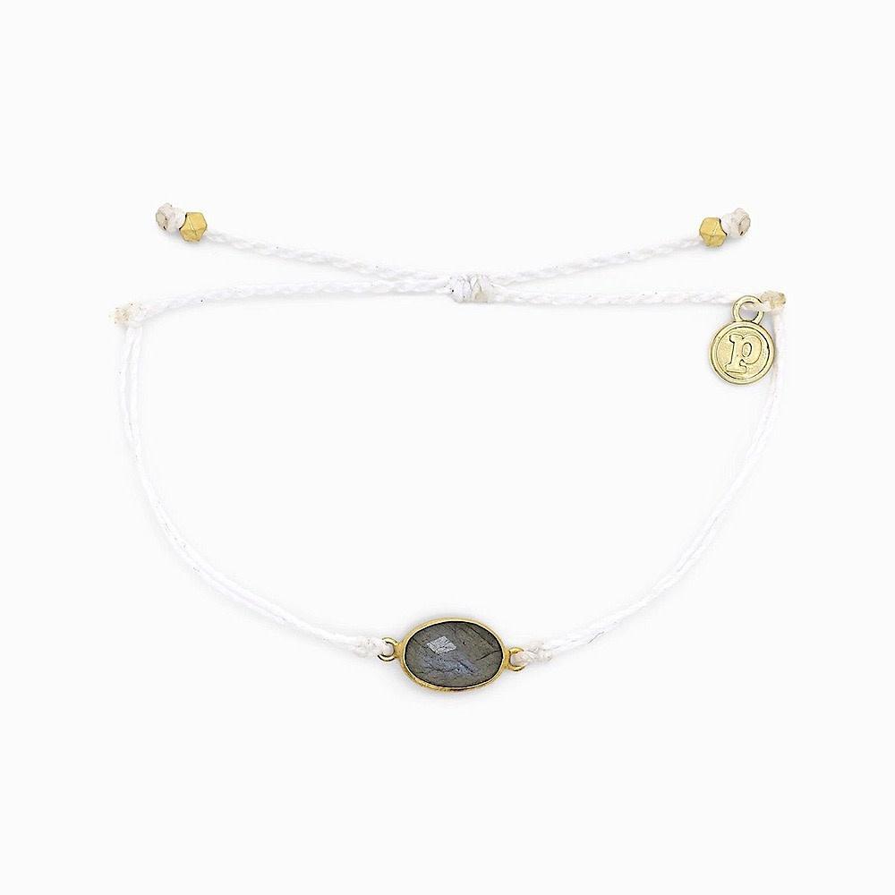 Pura Vida Charm Bracelet Labrodite - Gold/White