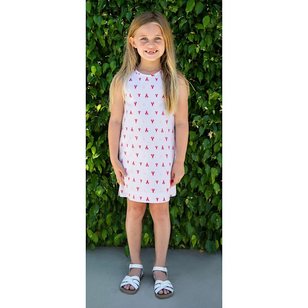 Smiling Button Tuni Dress - Lovely Lobster