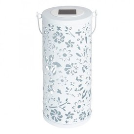 Allsop Home & Garden Bloom Solar Punched Metal Lantern - White