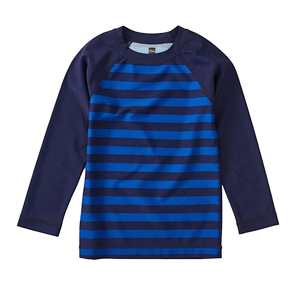 Tea Collection Printed Long Sleeve Rash Guard - Stripe Nightfall