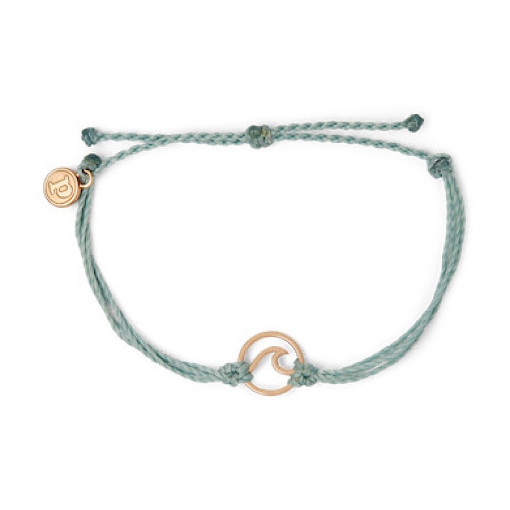 Pura Vida Wave Bracelet - Rose Gold/Smoke Blue