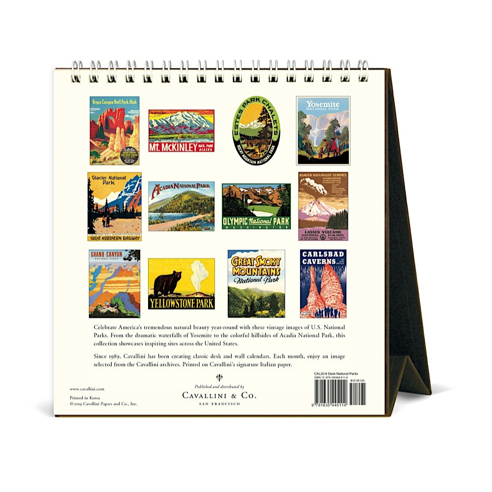 Cavallini Desk Calendar - National Parks 2021