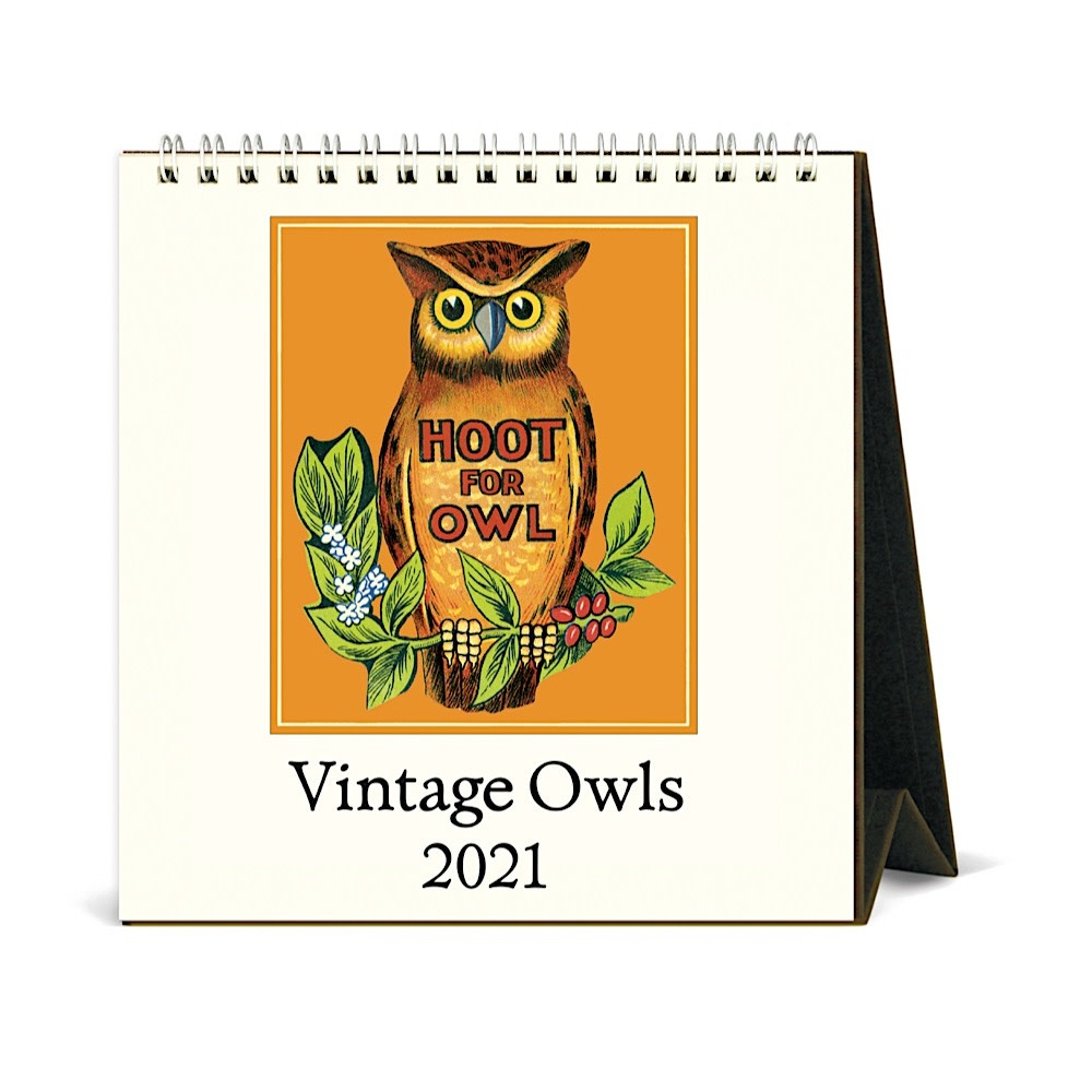 Cavallini Desk Calendar - Vintage Owls 2021