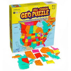 Geotoys GeoPuzzle USA and Canada - 69 Piece Jigsaw Puzzle