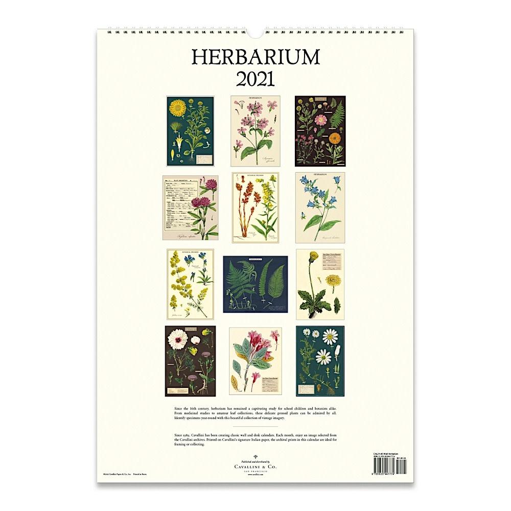 Cavallini Wall Calendar - Herbarium 2021
