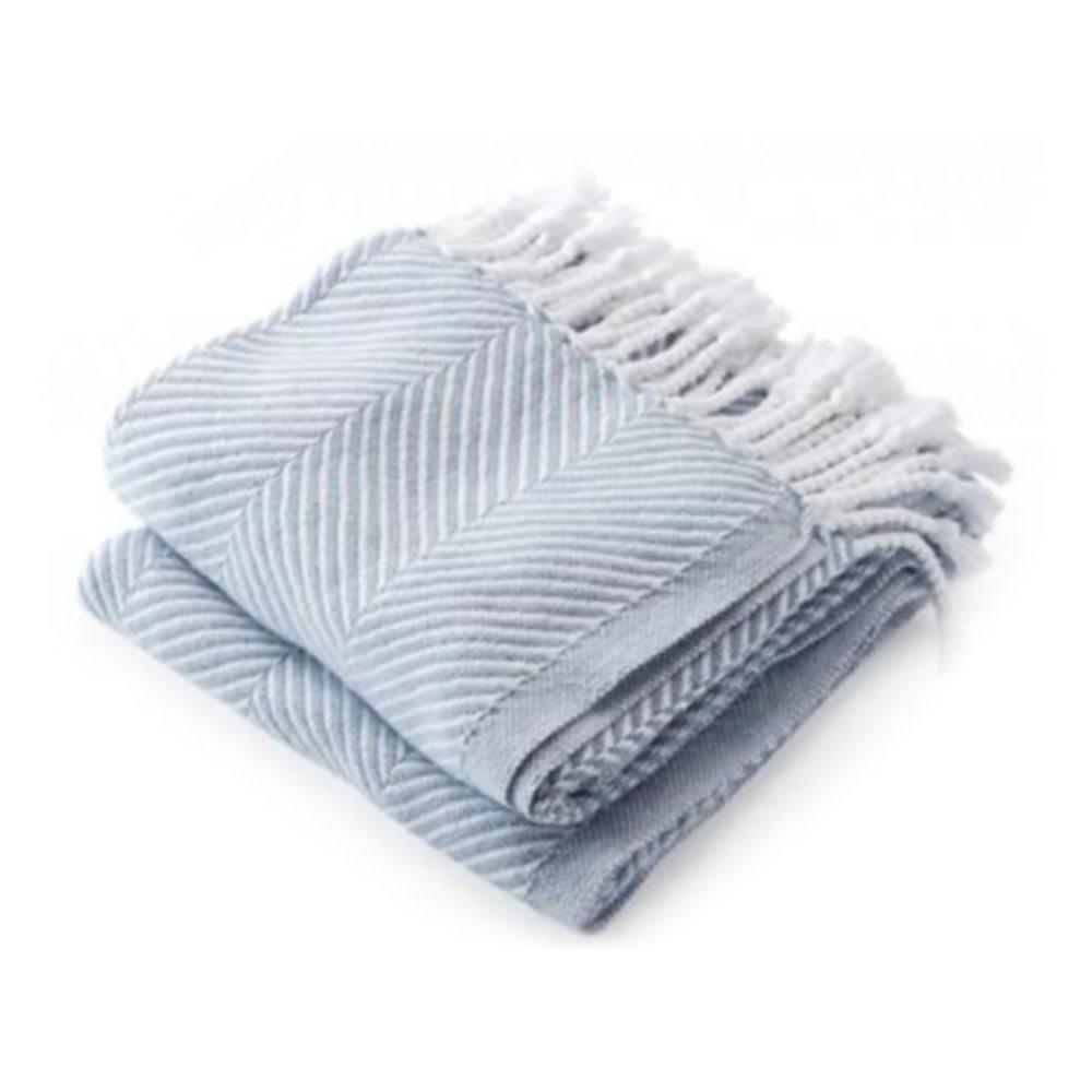 Brahms Mount - Monhegan Cotton Throw  - Misty Blue on White