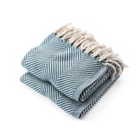 Brahms Mount Brahms Mount - Monhegan Cotton Throw  - Natural & Indigo