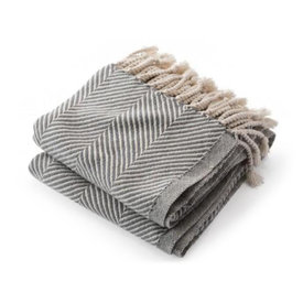 Brahms Mount Brahms Mount - Monhegan Cotton Throw  - Natural & Slate