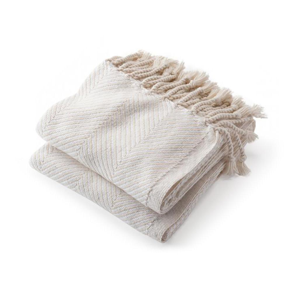 Brahms Mount Brahms Mount - Monhegan Cotton Throw  - Natural & White