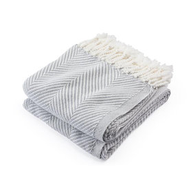 Brahms Mount Brahms Mount - Monhegan Cotton Throw - Dove Gray