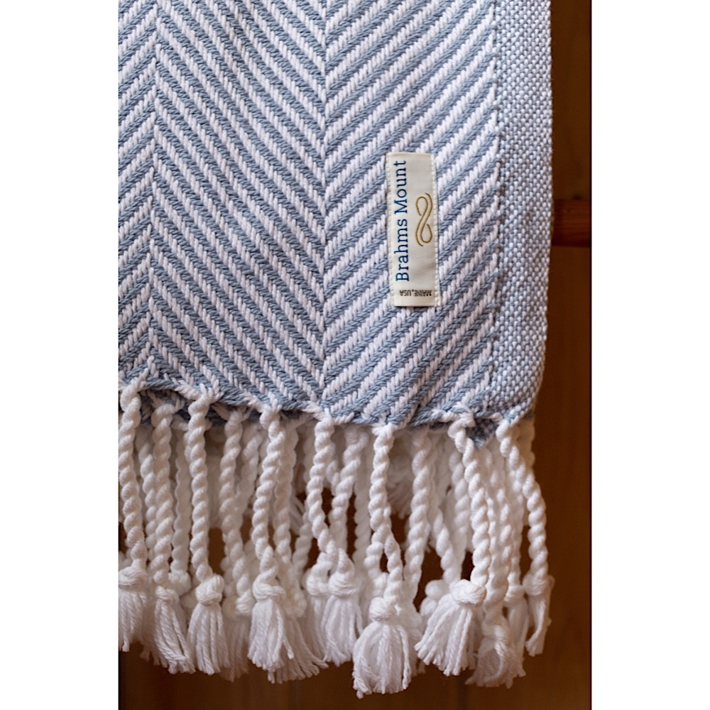 Brahms Mount - Monhegan Cotton Throw  - Misty Blue on White