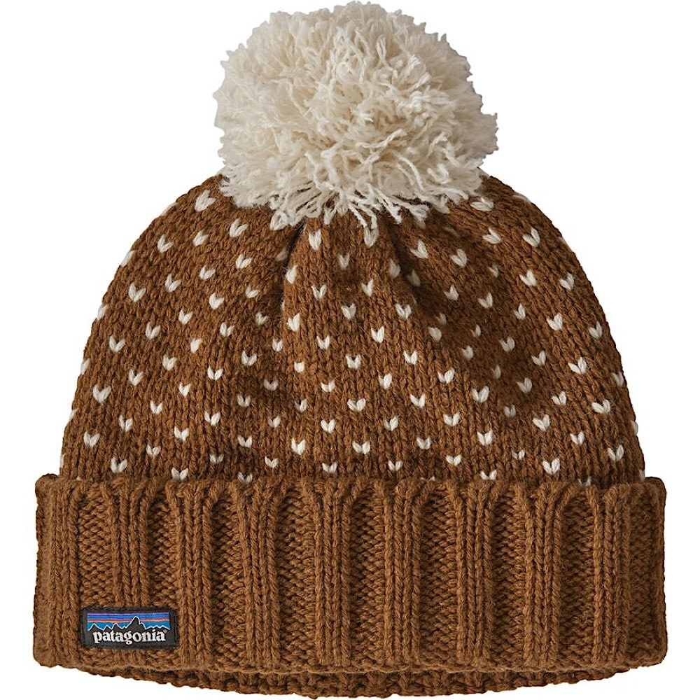Patagonia Snowbell Beanie - Simple Dot Knit Wood Brown