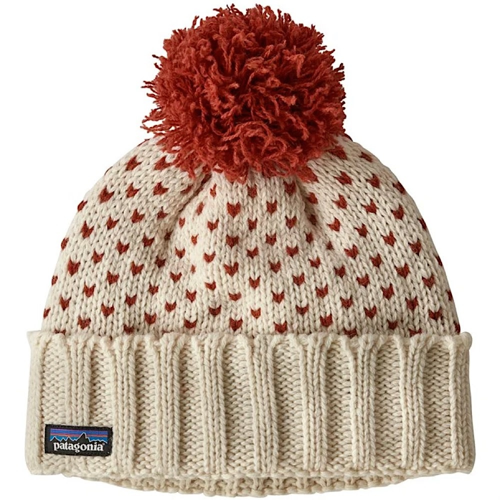 Patagonia Snowbell Beanie - Simple Dot Knit Hot Ember