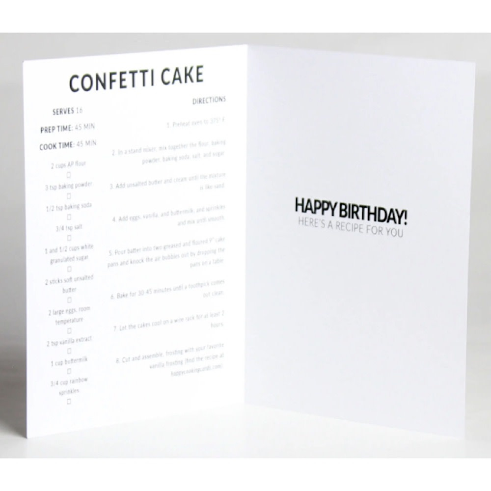 Happy Cooking Cards - Recipe Card - Confetti Cake