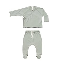 Quincy Mae Quincy Mae Kimono Top + Footed Pant Set - Sage