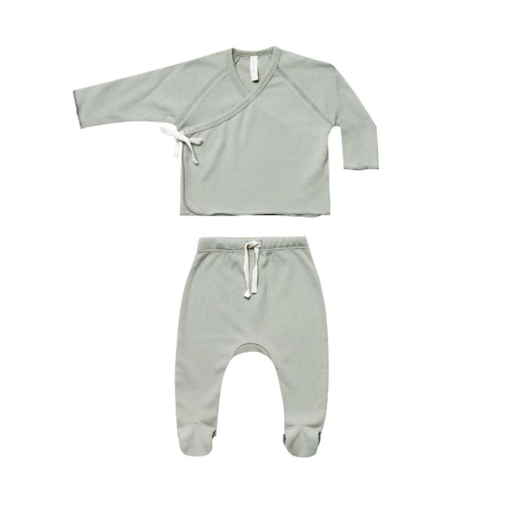 Quincy Mae Kimono Top + Footed Pant Set - Sage