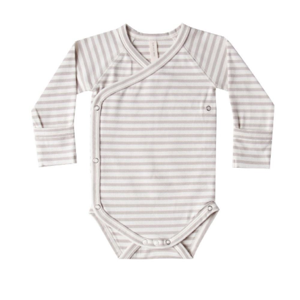 Quincy Mae Kimono Onesie - Fog Stripe
