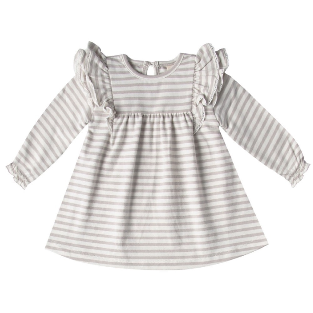 Quincy Mae Longsleeve Flutter Dress - Fog Stripe