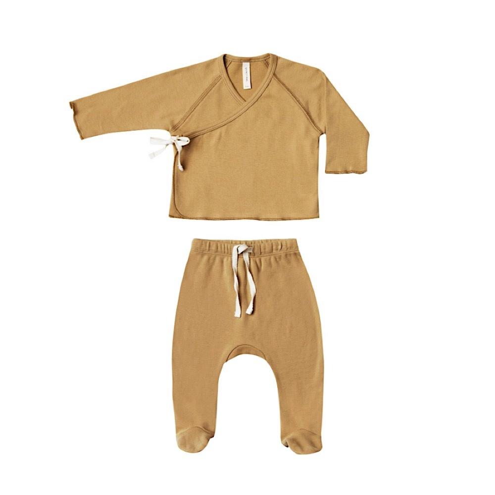 Quincy Mae Kimono Top + Footed Pant Set - Honey