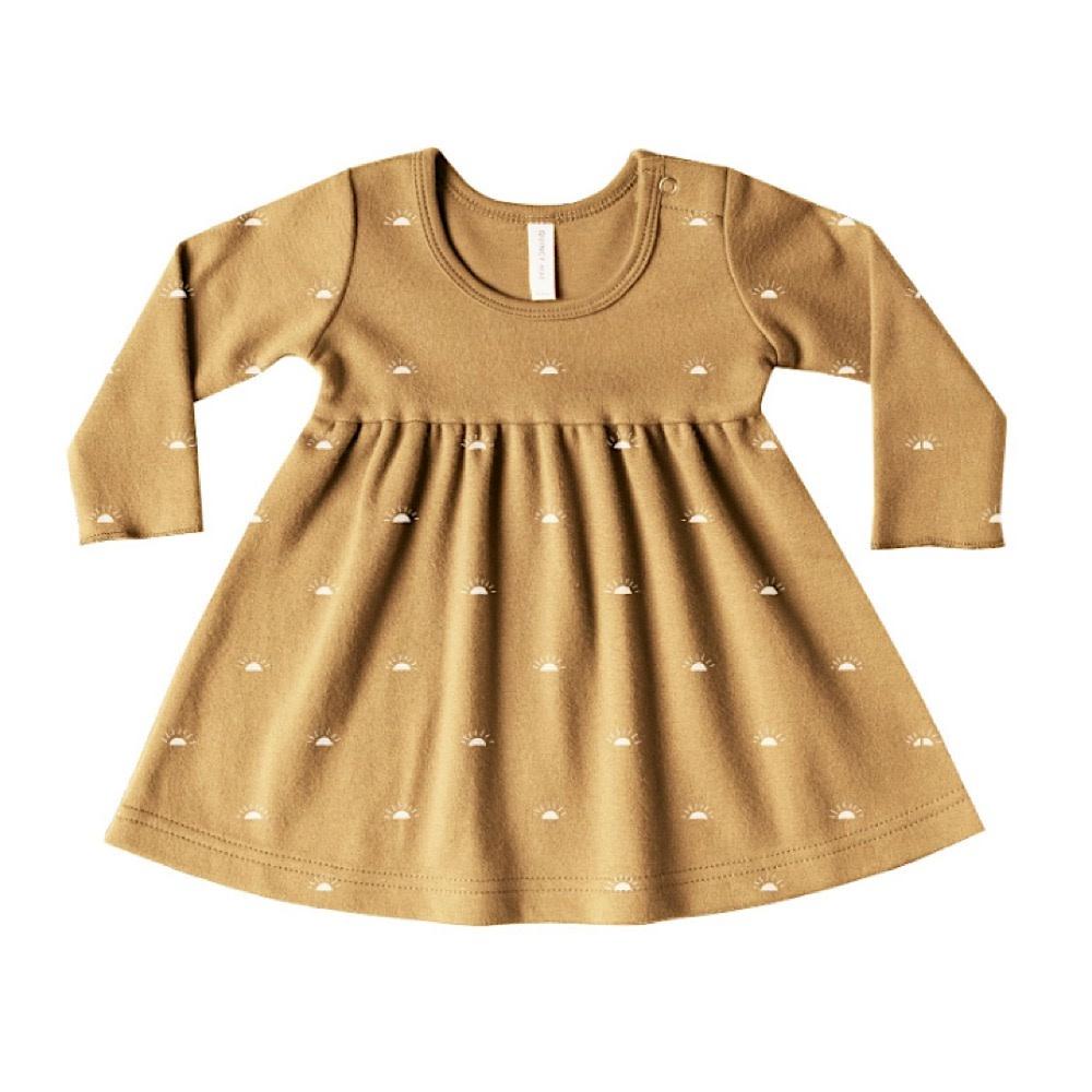 Quincy Mae Longsleeve Baby Dress - Honey