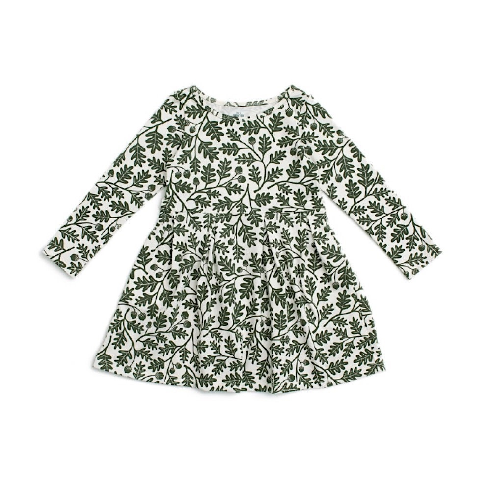 Winter Water Factory Winter Water Factory Madison Dress - Oak Leaves Forest Green