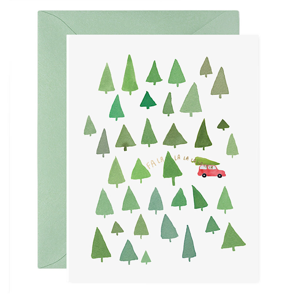 E Frances Fa La La La La Trees Card - Box of 6
