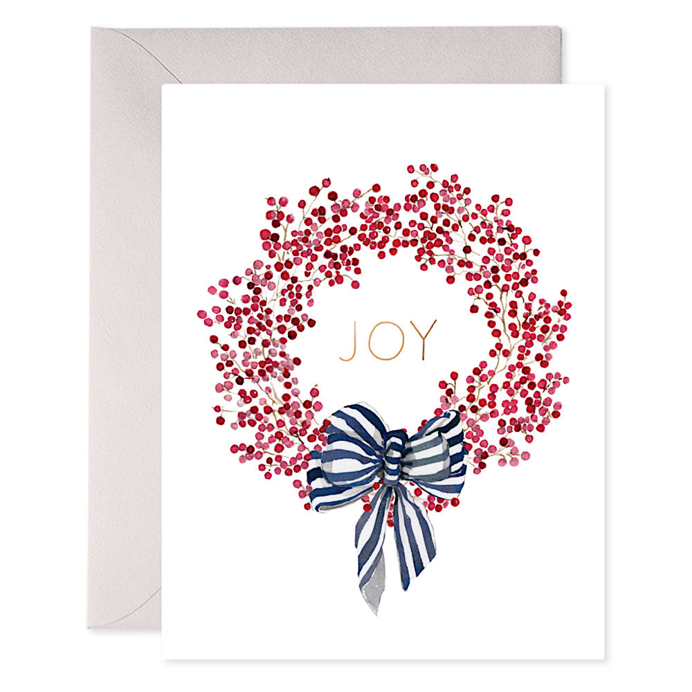 E Frances Red Berry Wreath Card