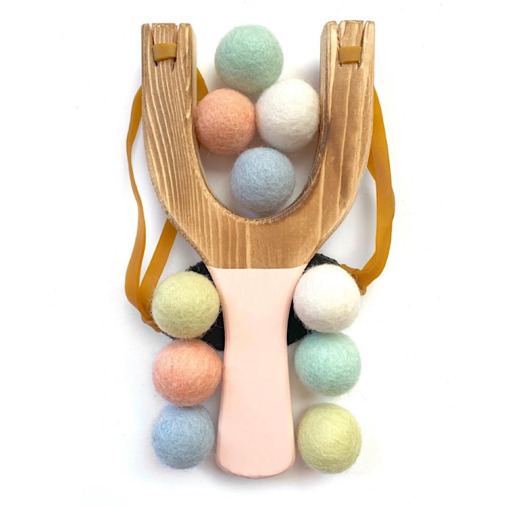 Little Lark Wooden Slingshot - Peach Handle with Pastel Rainbow Felt Balls