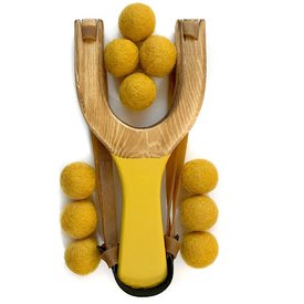 Little Lark Little Lark Wooden Slingshot - Mustard Handle with Mustard Felt Balls