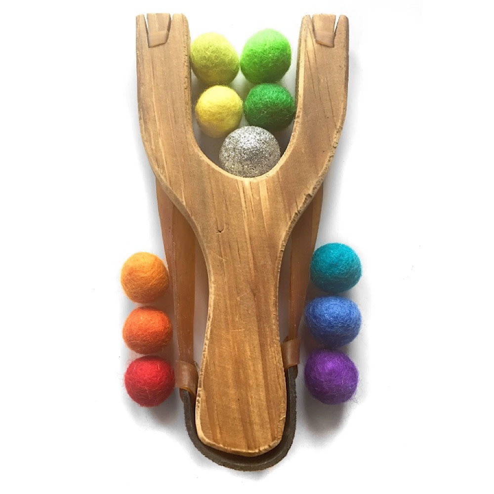 Little Lark Wooden Slingshot - Unpainted Handle with Rainbow Silver Felt Balls