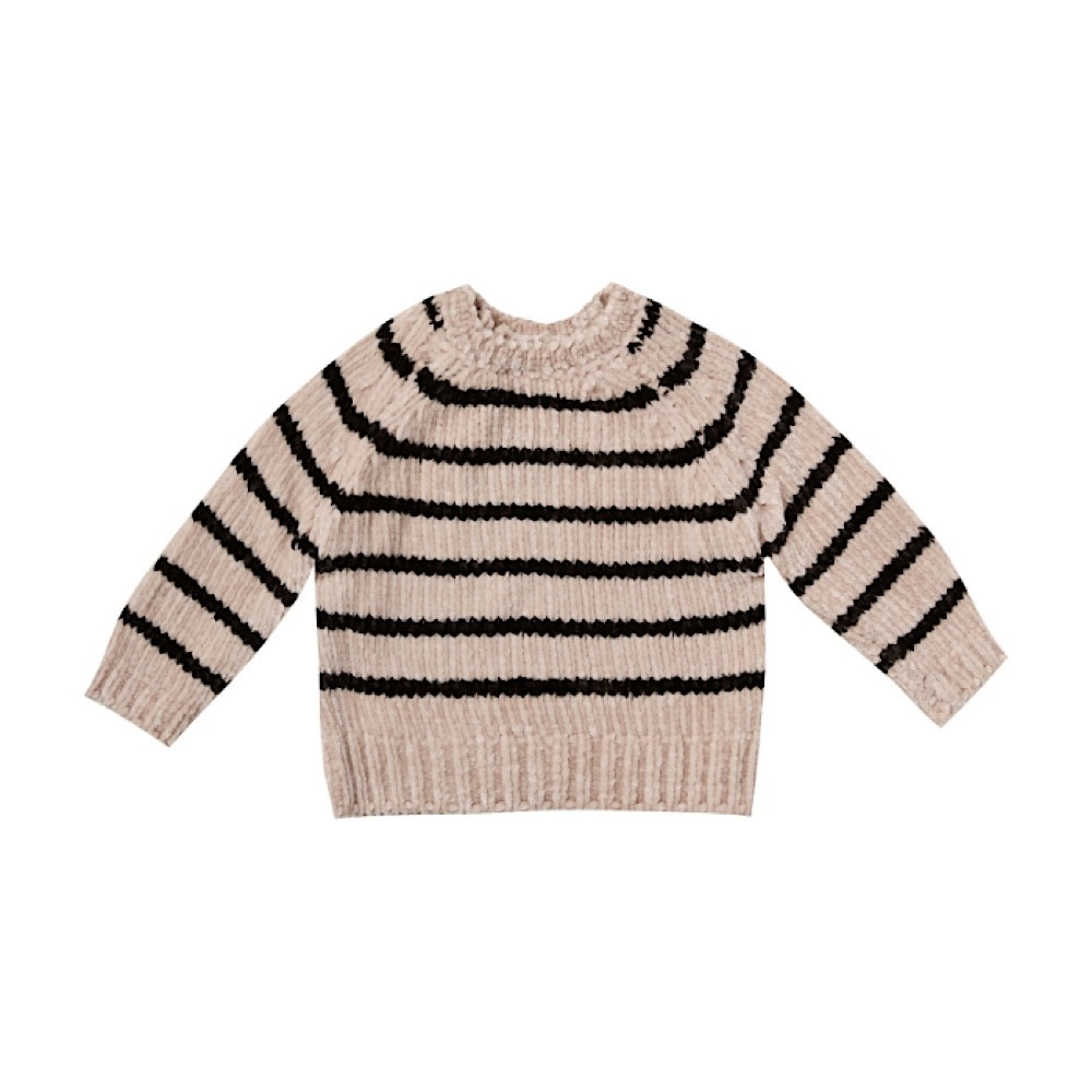 Rylee + Cru Rylee + Cru Striped Chenille Sweater - Oat