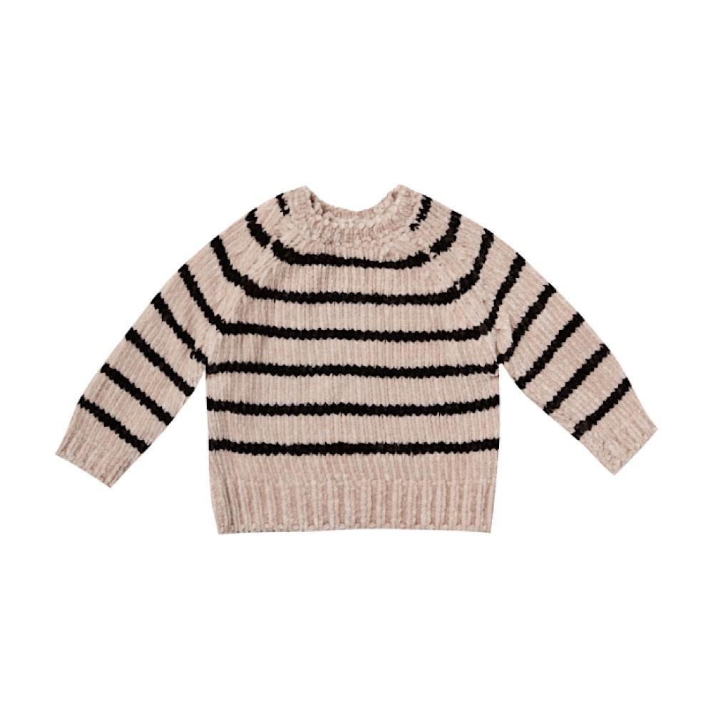 Rylee + Cru Striped Chenille Sweater - Oat