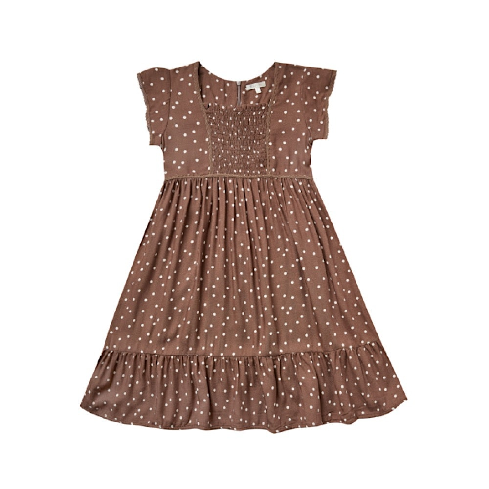 Rylee + Cru Dot Madeline Dress - Wine
