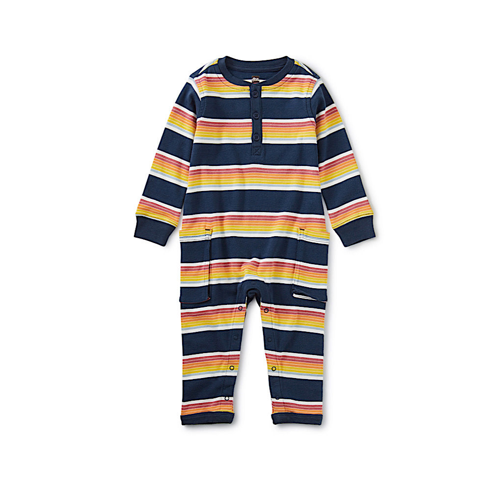 Tea Collection Tea Collection Striped Cargo Romper - Whale Blue