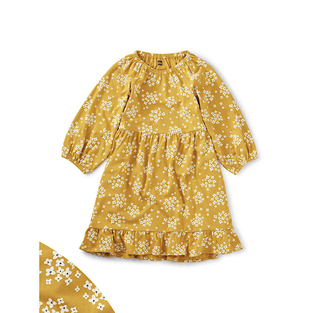 Tea Collection Ruffle Hem Dress - Golden Wildflowers
