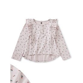 Tea Collection Tea Collection Ruffle Henley Top - Baby Radish