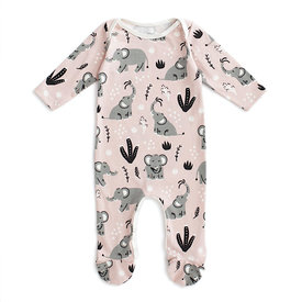Winter Water Factory Winter Water Factory Long Sleeve Footed Romper - Elephants Pink