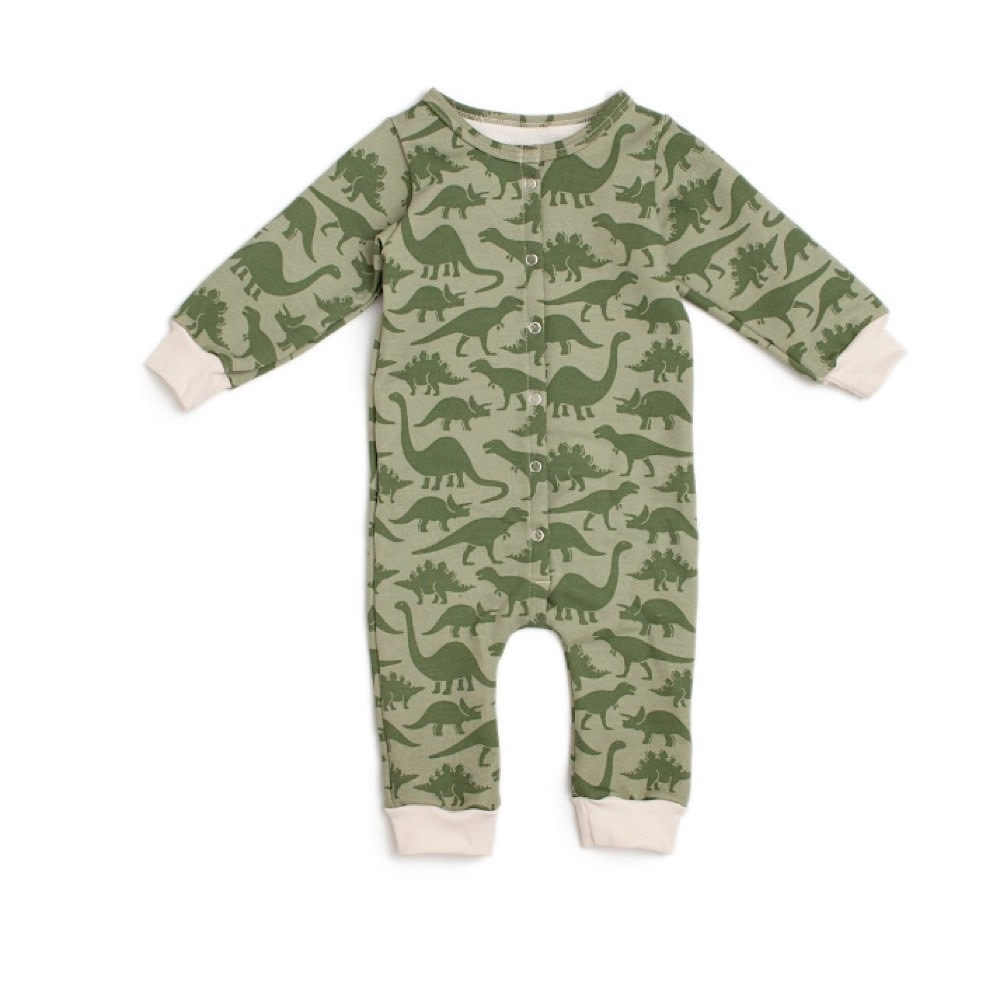 Winter Water Factory Winter Water Factory French Terry Jumpsuit - Dinosaurs Sage