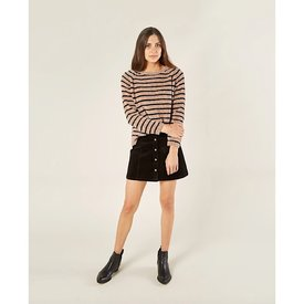 Rylee + Cru Rylee + Cru Adult Chenille Striped Sweater - Oat