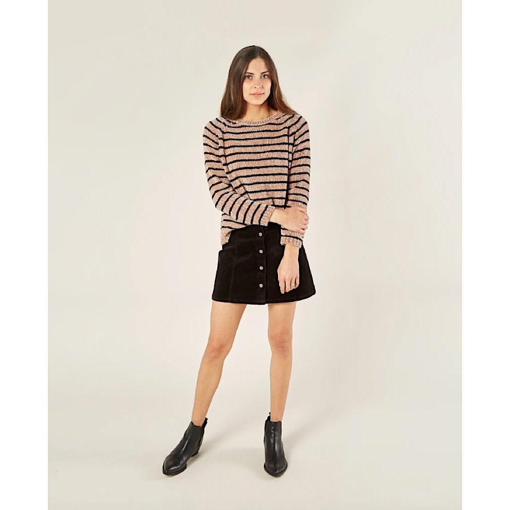Rylee + Cru Rylee + Cru Adult Chenille Striped Sweater - Oat