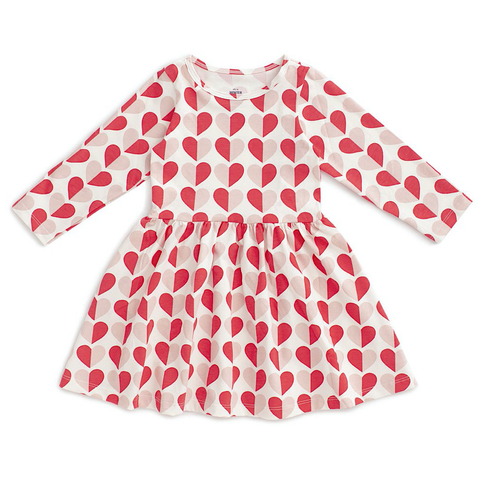 Winter Water Factory Calgary Dress - Hearts Red & Pink