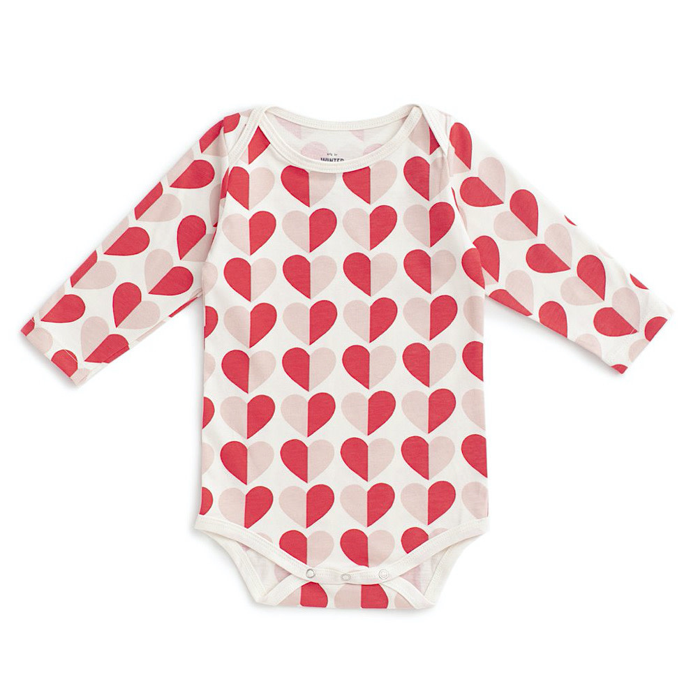 Winter Water Factory Long-Sleeve Snapsuit - Hearts Red & Pink
